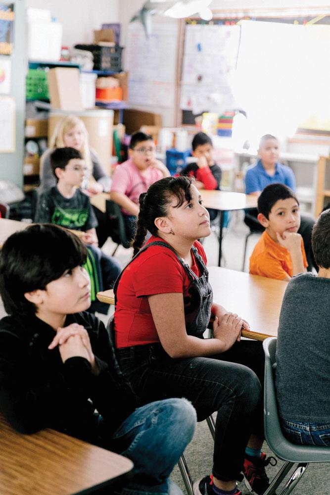 Camille Jones' students listening in class
