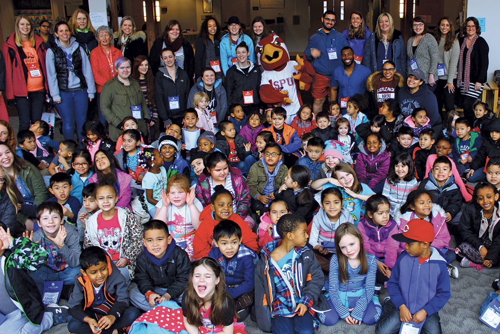 Children from Cascade Elementary in Renton, Washington visit the SPU campus on Kinder-to-College Day.