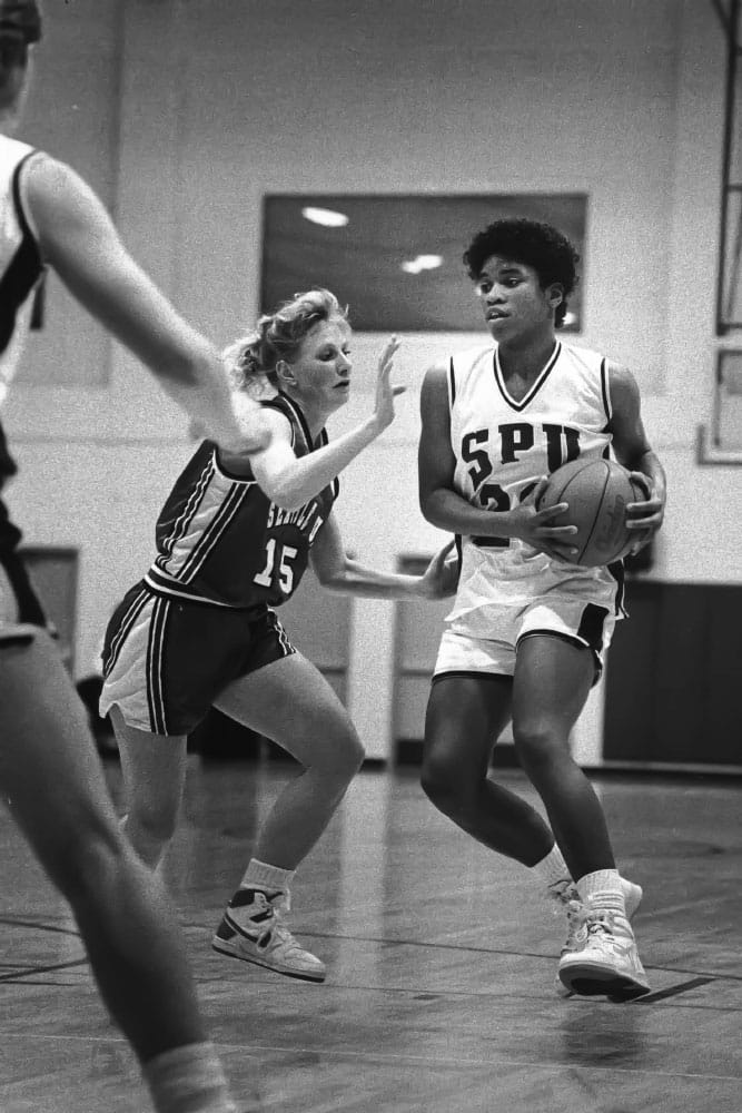Linda Johnson '89 on the court in a game in the 1980s. Photo courtesy of SPU Archives.