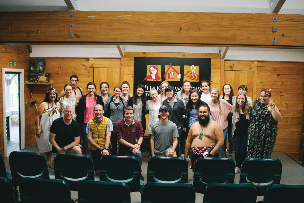 Students and faculty at Whakarewarewa