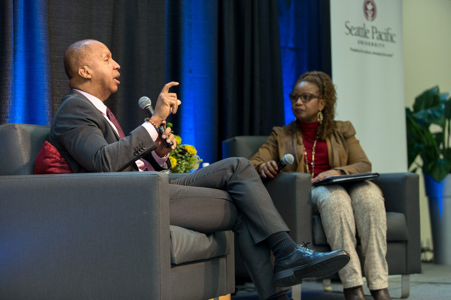 While visiting Seattle Pacific, Bryan Stevenson was also interviewed by Brenda Salter McNeil, associate professor of reconciliation studies and director of reconciliation studies at Seattle Pacific University.