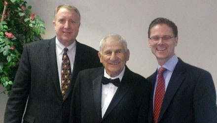 Les Habegger with former SPU Athletic Director Tom Box and SPU President Dan Martin