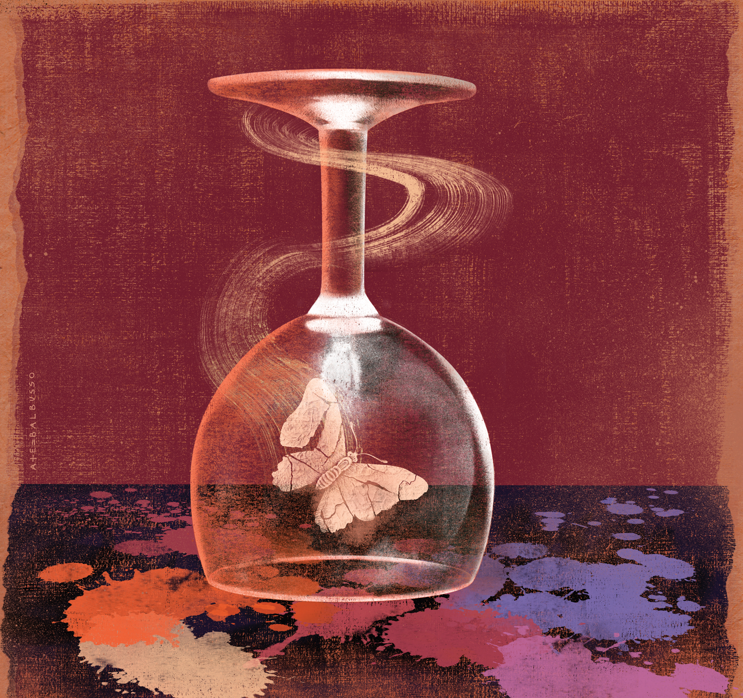 An illustration of a butterfly in an upside-down wine glass by Anna and Elena Balbusso