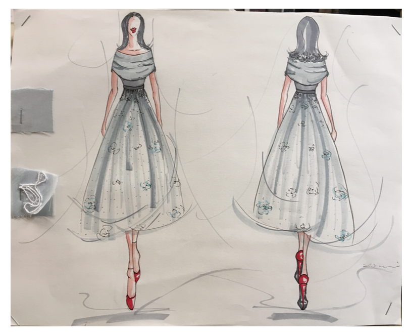 Sketches of Louise Furrow's dress by Syl Xu