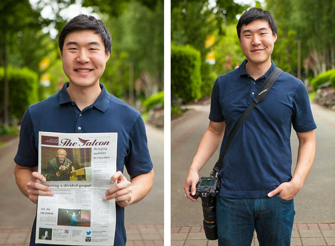 Chris Yang, award-winning photographer, holding a newspaper