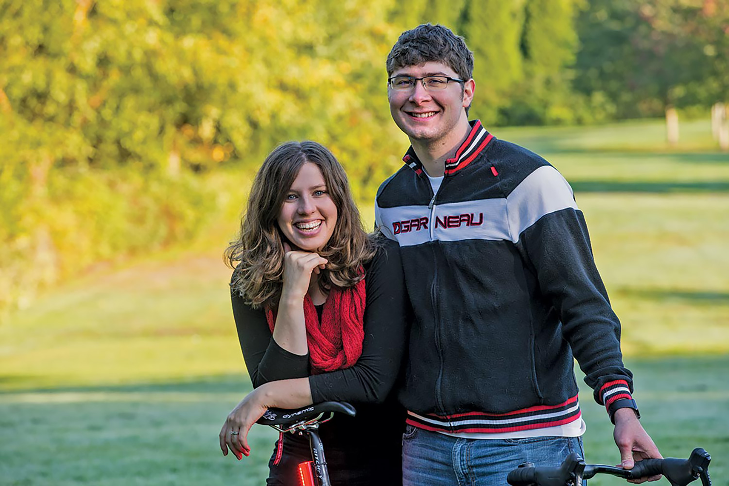 Peter Clyde and Kayla Sanders Clyde with the Orfos Flare bike light