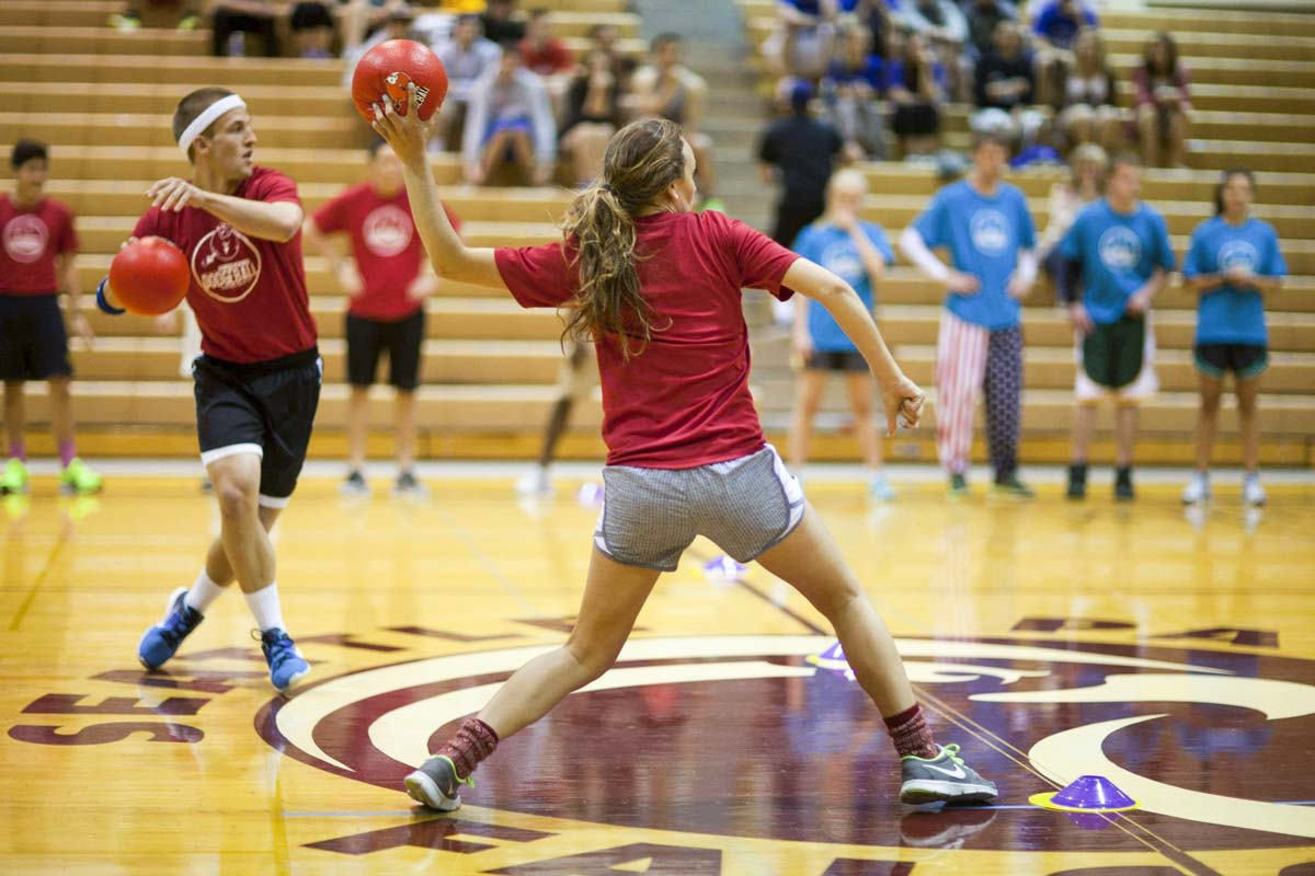 SPU student Gracie Hoidal playing dodgeball
