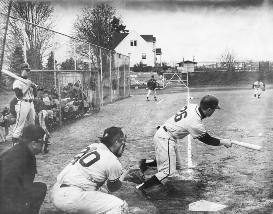 Seattle Pacific baseball players playing game in Queen Anne Bowl