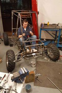 hunter testing race car