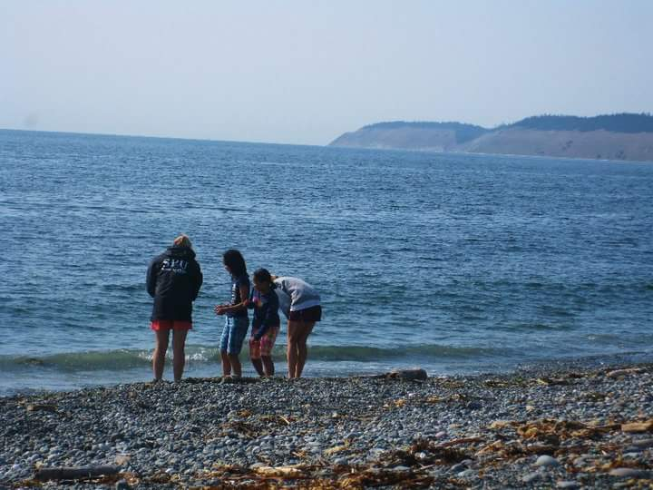 In this photo, four people stand near the water on a beach.