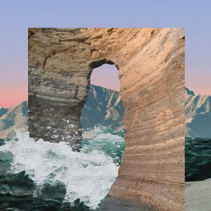 This image shows a photo collage of a wave crashing through an opening in rocks.