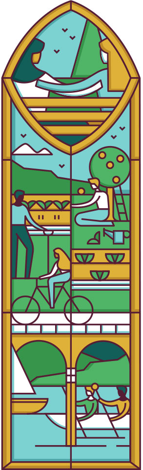 This illustration shows a stained glass style outdoor scene with people gardening, riding bicycles, and boating.