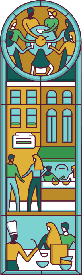 This stained glass style illustration shows people outside of a cafe and serving soup.