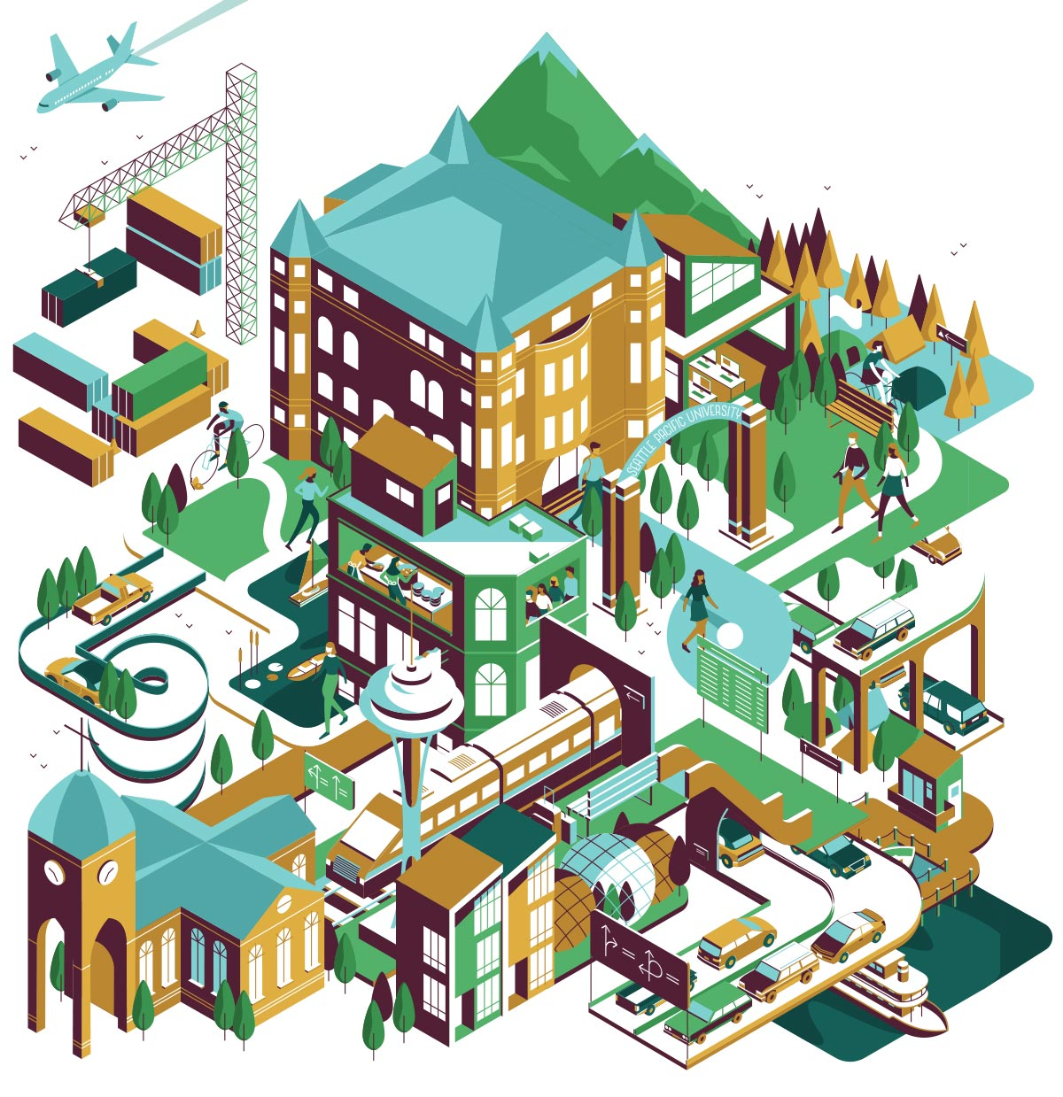 This illustration shows a stylized image of Seattle, including a representation of Alexander Hall, Mount Rainier, airplanes, the space needle, a church, and other things seen around Seattle.