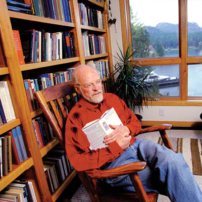 eugene peterson sits in a rocking chair
