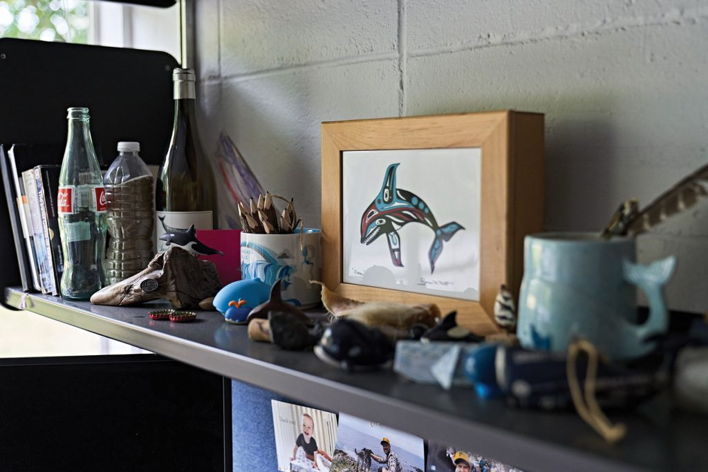 Peter moe's collection pf whale related things on his shelf