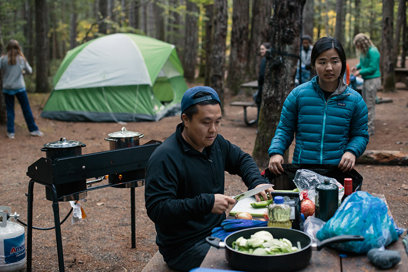SPU Outdoor Recreation Program students prepare food