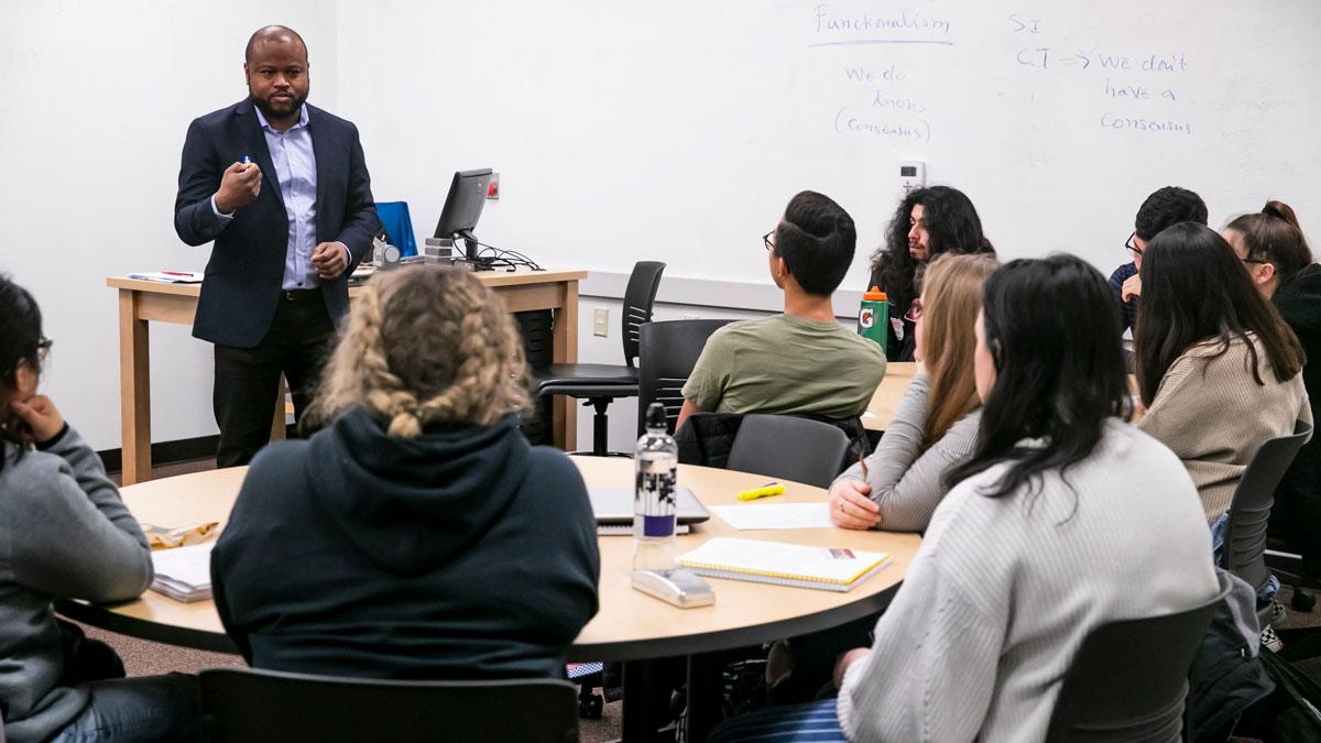 professor speaks to class