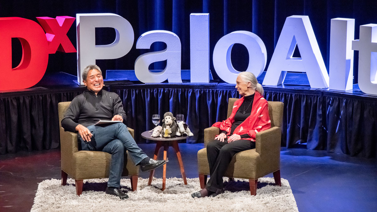 Guy Kawasaki on TEDx stage with Jane Goodall