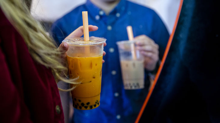 SPU students holding bubble tea - photo by Lindsey Wasson