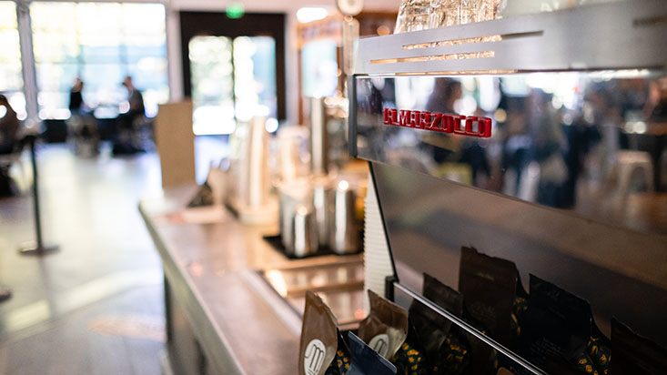 A La Marzocco espresso machine at their flagship location at Seattle Center