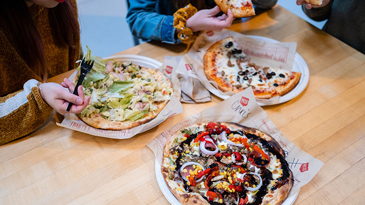An array of pizzas from Mod Pizza