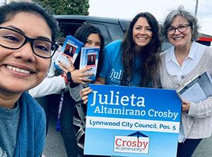 Julieta Altamirano Crosby campaigning for city council