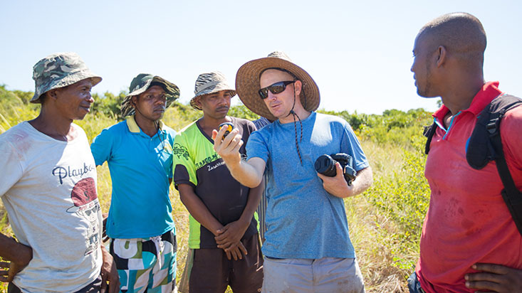 Jaime Shattenberg and farmers in Madagascar