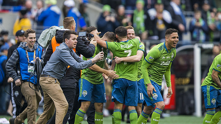 The Seattle Sounders FC take on Toronto FC in the 2019 MLS Cup at CenturyLink Field on Sunday, November 10, 2019 in Seattle. The Seattle Sounders won 3-1.