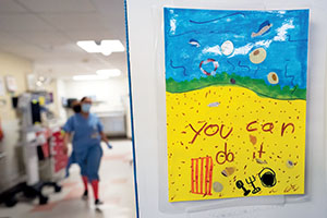 Children's drawings of encouragement are posted at Harborview Medical Center, in Seattle, Washington, on May 12, 2020, where Dr. Steven Mitchell is the emergency department director and regional COVID-19 response director. ©2020 Eugene Lee/Response Magazine