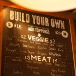 Build-your-own-pizza chalkboard sign at Ballard Pizza Company