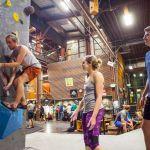 Tobijah Rogers demonstrates rock climbing