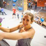 SPU student indoor rock climbing