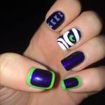 Seahawks themed nail polish design