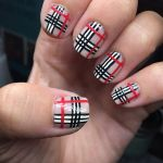 Burberry themed nail polish design