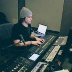 Taylor Merisko mixes final music tracks for the film.