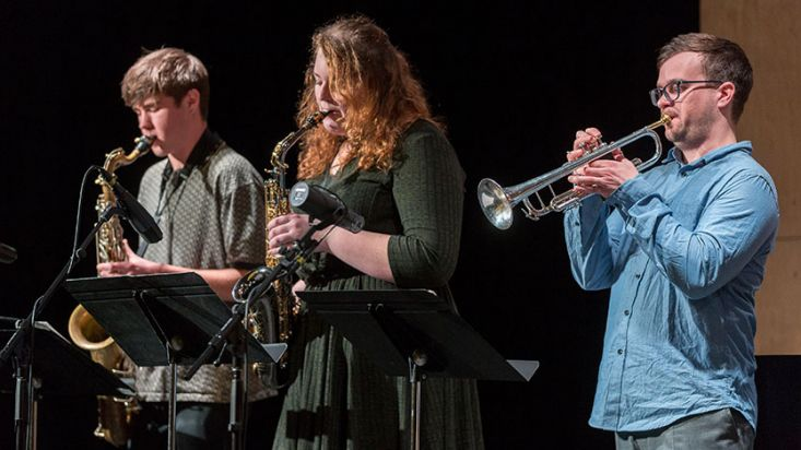 Students perform a showcase of chamber music and jazz