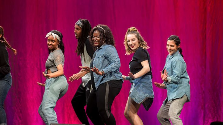A dance group performs at the SPU Homecoming talent show